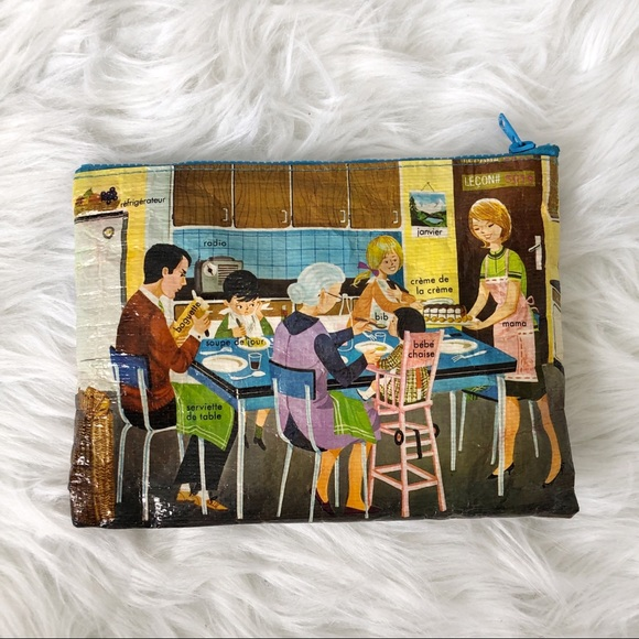 Vintage Handbags - 100% Recycled French Words Pencil Pouch